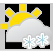 Leichte Schneeschauer, Sonne und Wolken